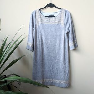 THML Anthro Gray Ivory Embroidered Shift Dress